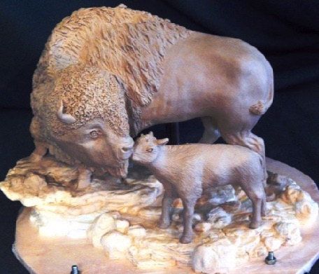 safe at home buffalo bison art bronze sculpture river horse art